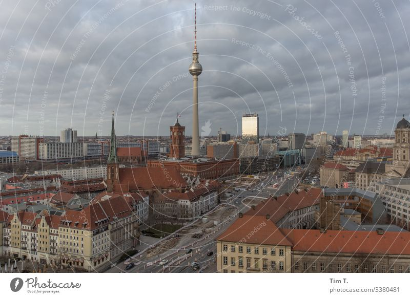 Downtown Berlin Town Capital city Skyline House (Residential Structure) Church Manmade structures Building Architecture Television tower Rotes Rathaus