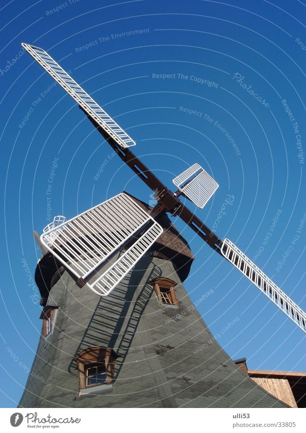 windmill Wind Windmill Historic Blue sky Diagonal Miller Architecture Craft (trade) Wing