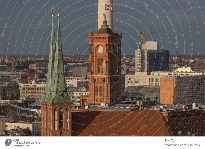 Downtown Berlin Town Capital city Old town Skyline Deserted House (Residential Structure) High-rise Church City hall Roof Rotes Rathaus Colour photo