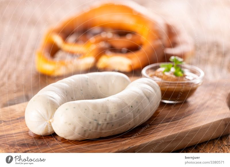 Meat Sausage Breakfast Lunch Beer Mug Oktoberfest Wood Fresh Hot White Veal sausage Bavaria Plank Portion Couple two European Eating Rustic Mustard Pretzel