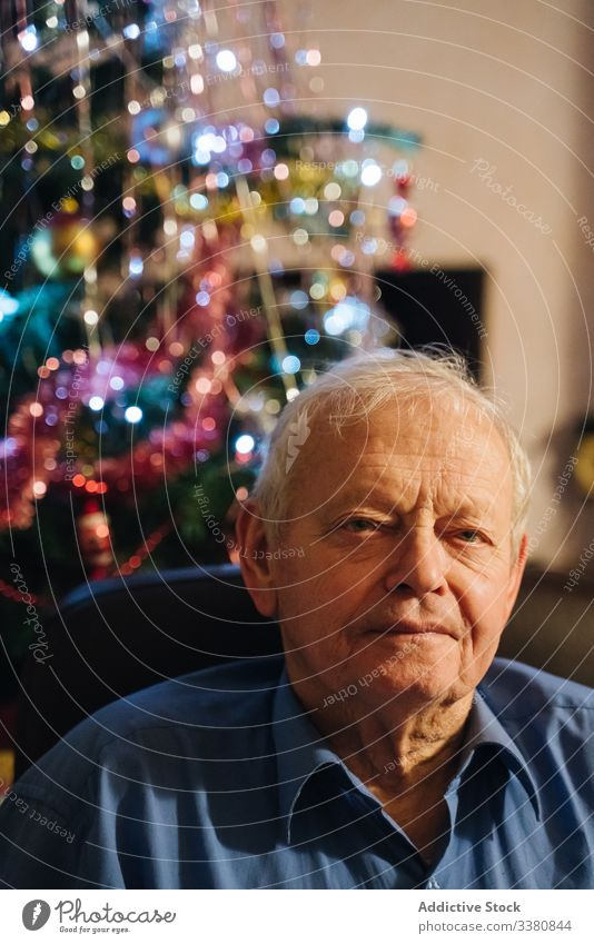 Positive male pensioner sitting at home at Christmas eve man casual senior christmas calm relax positive homey aged rest lifestyle happy smile confident enjoy