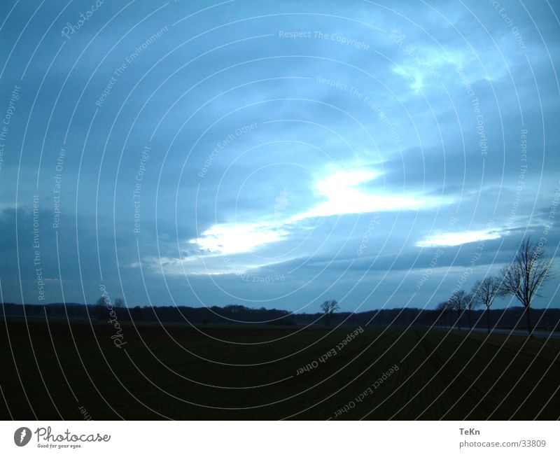 Tree Blue Clouds Dark Autumn Field Earth Cover Bad weather