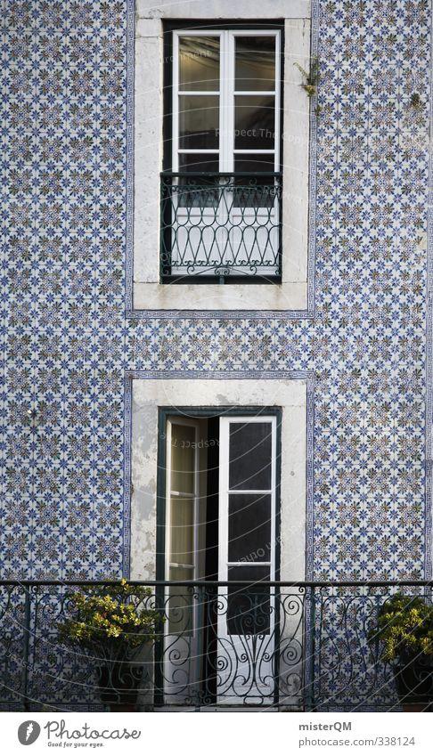 Tiled facade. Art Esthetic Facade Cladding Portugal Lisbon Balcony Old fashioned Derelict Noble Ancient Pattern Symmetry Door Handrail Colour photo