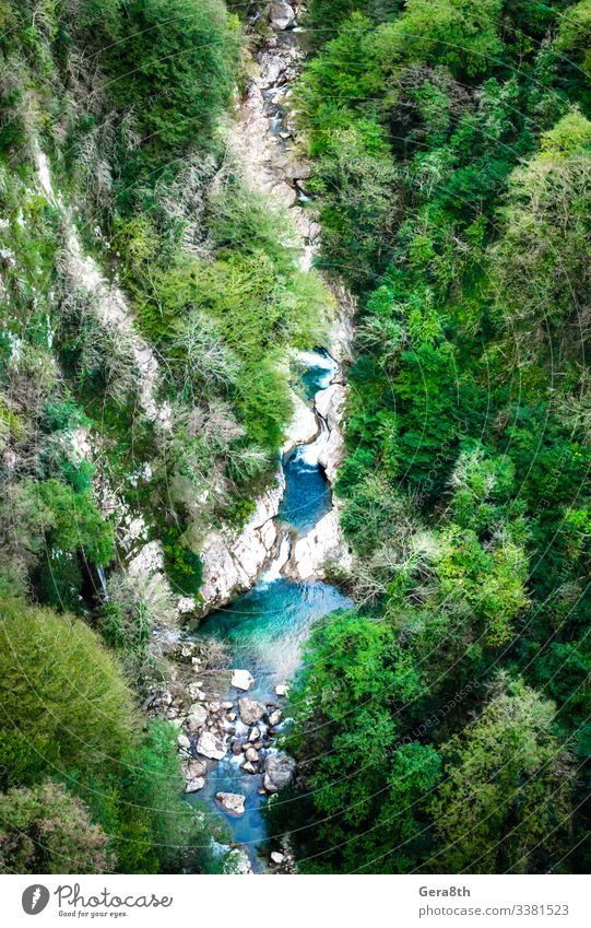 aerial view of mountain canyon with river and forest in Georgia Vacation & Travel Tourism Mountain Nature Landscape Plant Autumn Climate Tree Forest Rock Canyon