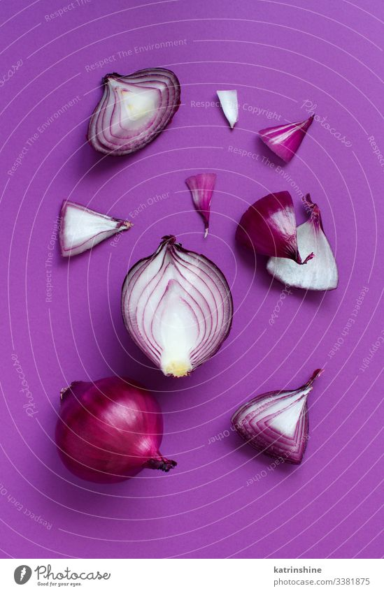 Vegetable Vegetarian diet Fresh Natural Above Red White Purple Onion background Sliced Half food healthy Raw Organic Ingredients Mature Vitamin Harvest