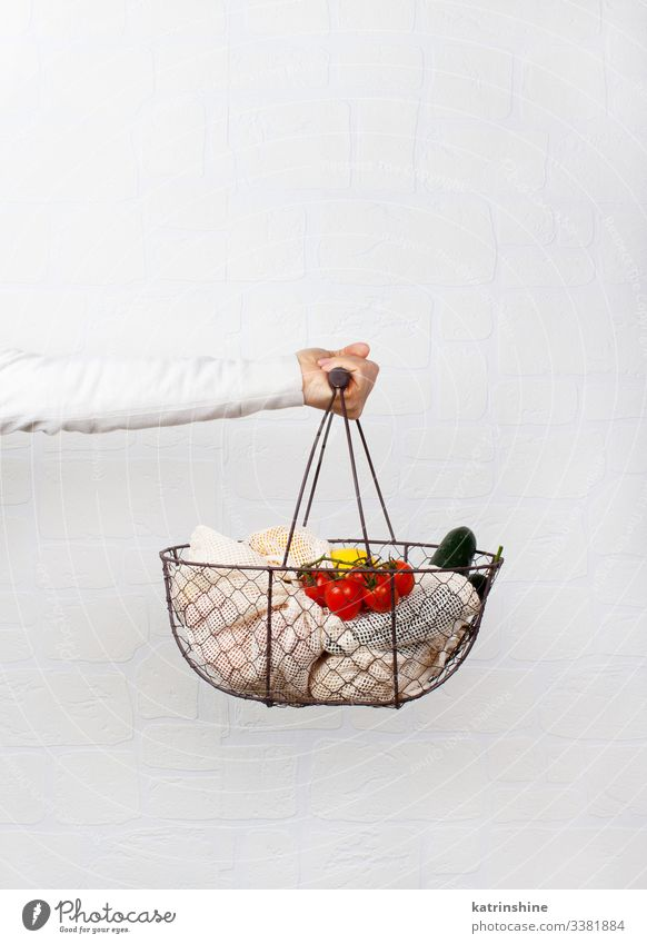 Food Vegetable Lifestyle Shopping Woman Adults Hand Environment Plastic Free Natural White Zero waste textile bag Basket Conceptual design keep Faceless Farmer
