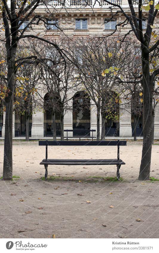 ParkBank Tree Garden Capital city Building Sit Calm Park bench Bench Wooden bench jardin du palais royal Palais Royal Arcade Loggia Architecture Historic Paris