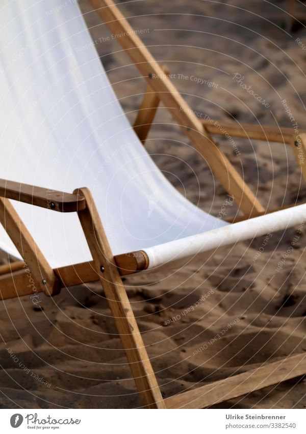 Old | Old-fashioned deckchair on the Elbe beach Deckchair Chair Sand sun lounger beach couch rest Empty White cover Beach Appealing wood wooden reclining chair