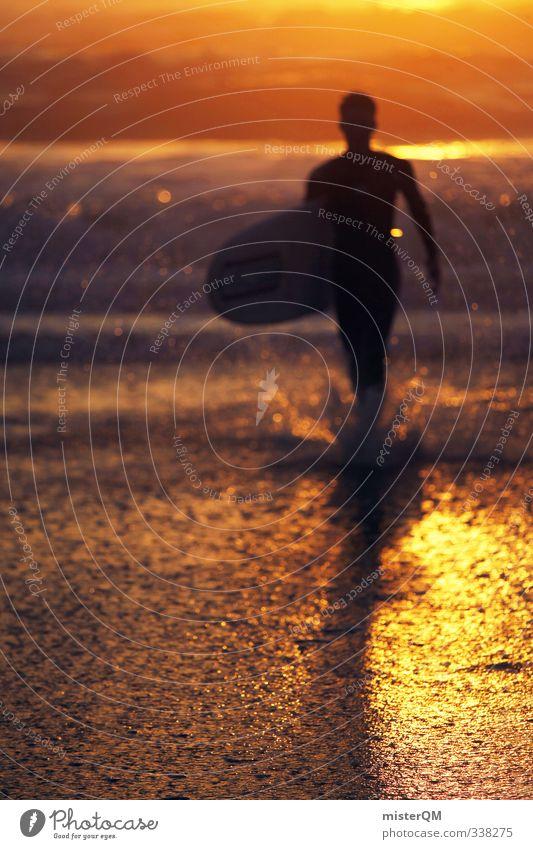 Man Water Sun Ocean Coast Art Masculine Contentment Waves Modern Idyll Gold Esthetic Walking Fitness Romance