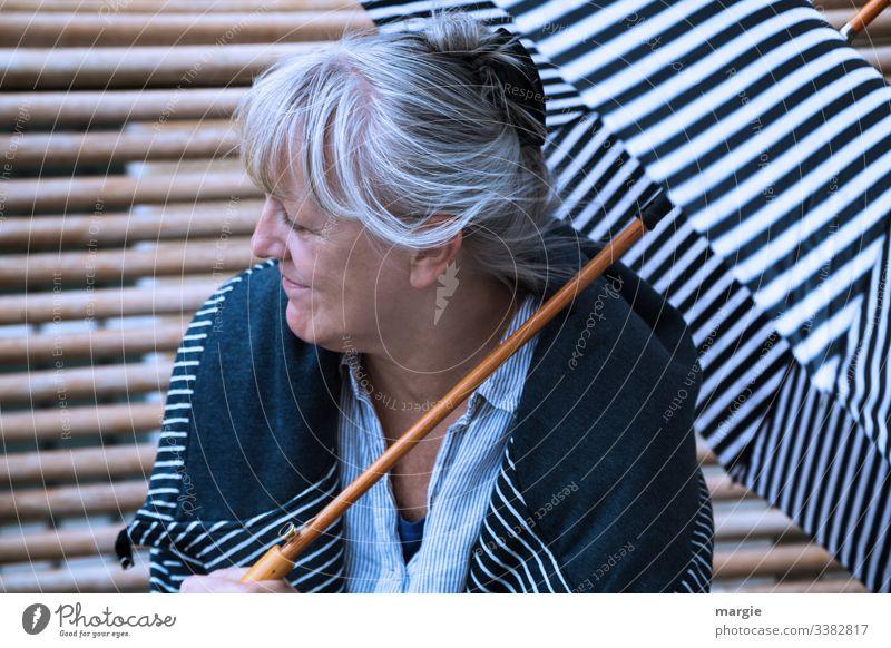 Favourite human being  Thank you! Stripe Sunshade Bench Umbrella Umbrellas & Shades Mother grandma grandmother Human being Woman Senior citizen favourite person