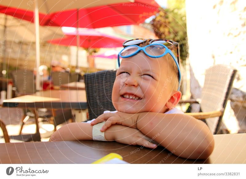 Happy child receiving good news Happiness childhood Children's game Childhood memory Childlike Childhood wish Childhood dream Innovative inocence glasses