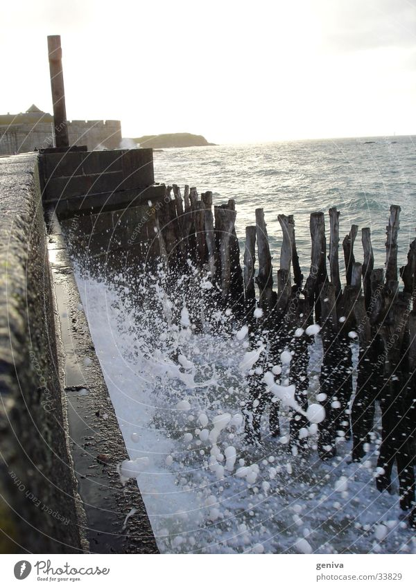 Water on the wall Ocean Waves High tide Sun Staint-Malo