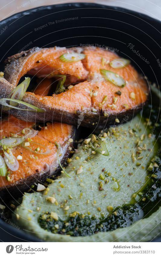 Tasty salmon steak with seasonings on plate spice recipe eat delicatessen pan fried fish food meal fresh cuisine dish gourmet seafood nutrition healthy dinner
