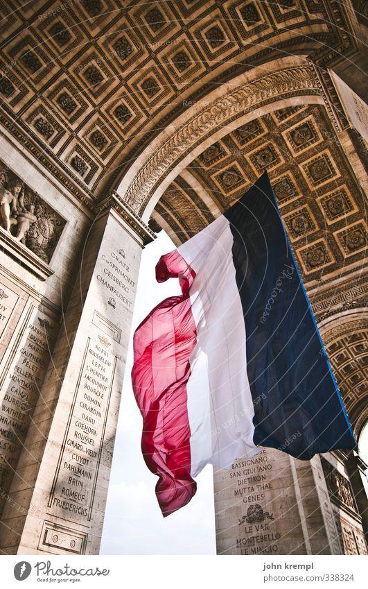 liberté, égalité, fraternité Paris France Capital city Downtown Gate Tourist Attraction Landmark Arc de Triomphe Flag Esthetic Famousness Gigantic Large Bravery