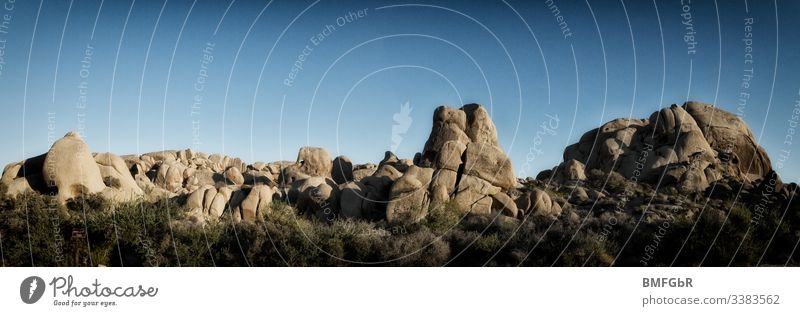 Panorama Rock Group in Joshua Tree National Park in USA California Cairn Hill stone mountain Rock formations Joshua Tree Park Americas united states of america