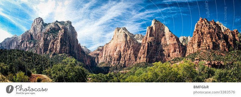 Mountain range of the Zion National Park in USA Adventure Americas Beautiful Blue canyon Cliff nature conservation Target Dramatic Environment Forest Canyon
