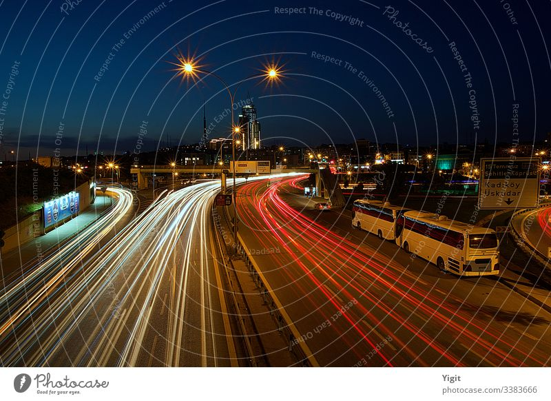 Light Trails of Vehicles at Twilight architecture blue blue sky cars city cityscape evening exposure fast circulating cars golden hour highway istanbul city