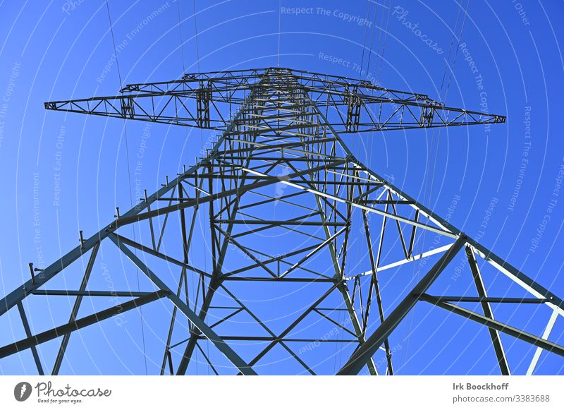 Power pole from below Electricity pylon Transmission lines Sky Energy industry Industry High voltage power line Steel Power failure Environment Renewable energy