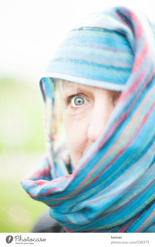 total blue | fatma in helgiland Human being Feminine Woman Adults Eyes Nose 1 45 - 60 years Scarf Rag Headscarf Looking Blue shrouded Amazed Scare Colour photo