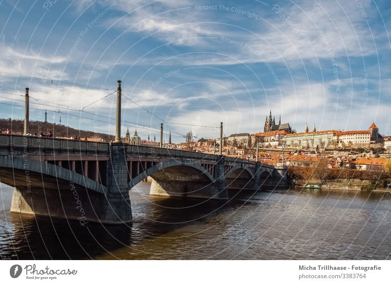 View to the Prague Castle and the old town Town Czech Republic Old town River The Moldau Bridge Tourism Vacation & Travel Exterior shot Europe City trip