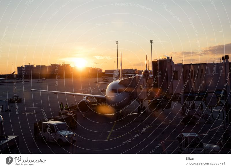 An aircraft checking in at the airport at sunset Airplane Flying air traffic Airport travel Sunrise Sunset dispatch Wanderlust vacation atmospheric