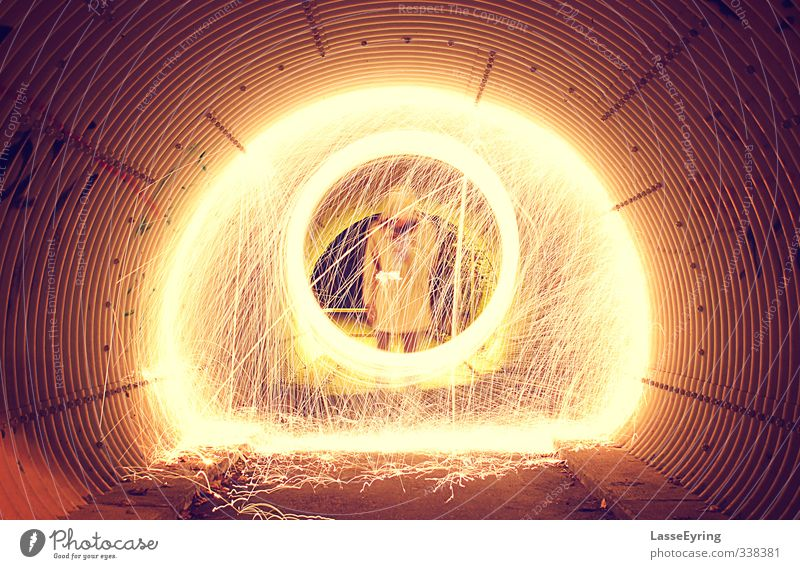 Steelwool Light Painting In Tunnel Masculine Man Adults Youth (Young adults) Life 1 Human being 18 - 30 years Spring Small Town Downtown Outskirts