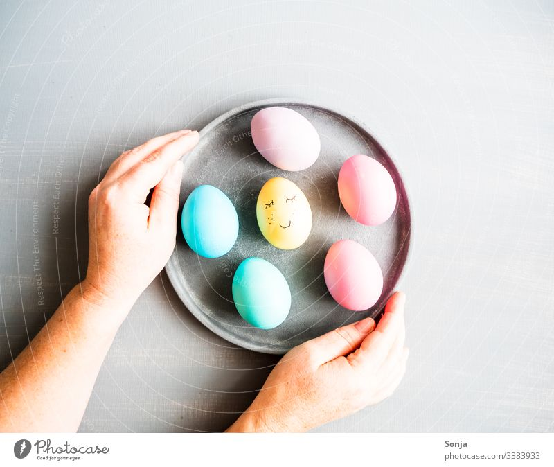 Hands holding a plate of Easter eggs Painted Woman Table Gray plan painted face Humor Funny Plate stop Egg pastel shades Food photograph Protein Anticipation