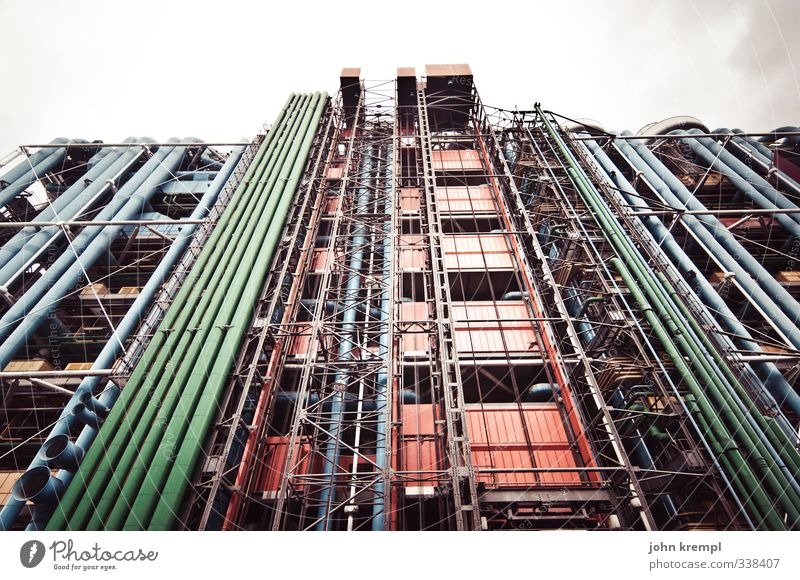RGB Paris France High-rise Manmade structures Building Architecture Facade Tourist Attraction Pompidou center Esthetic Exceptional Gigantic Hideous Modern