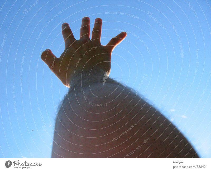 reach Hand Man Sky Blue Beautiful weather
