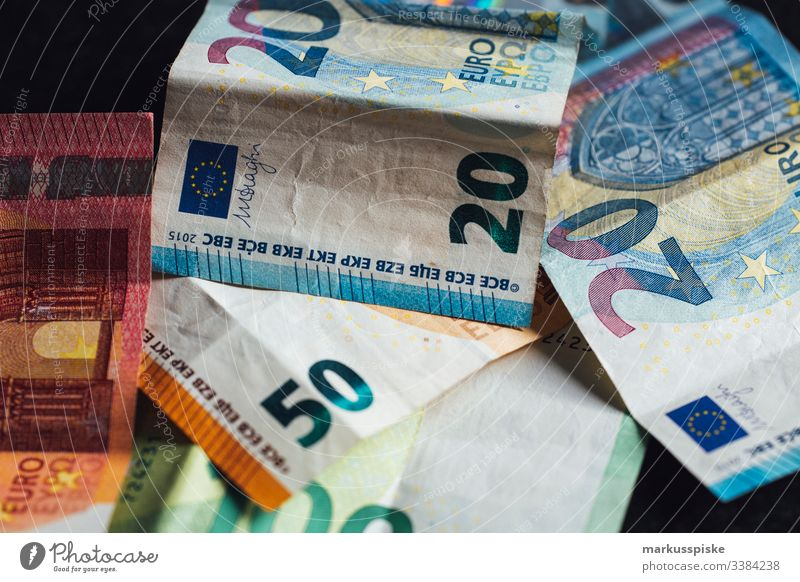 EURO banknotes Euro Euro symbol € Money Bank note cash Loose change corruption tax evasion Illegal earnings Payment pay cash Financial Industry Luxury Income