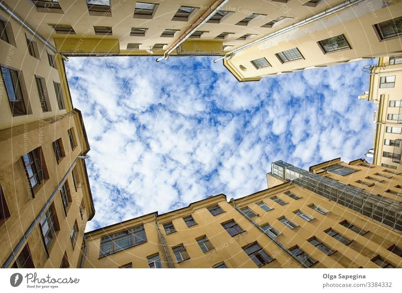 Urban Cell yard courtyard sky architecture house view old blue city wall building window background petersburg yellow saint-petersburg square abstract russia