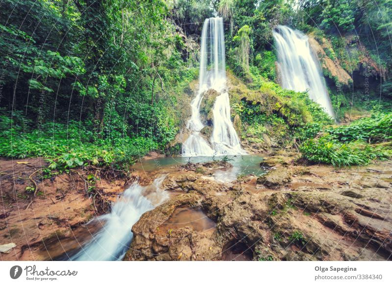Waterfall in rainforest jungle flowing between the rocks El Rosio, river Melodioso waterfall background beautiful tropical park landscape nature green stream
