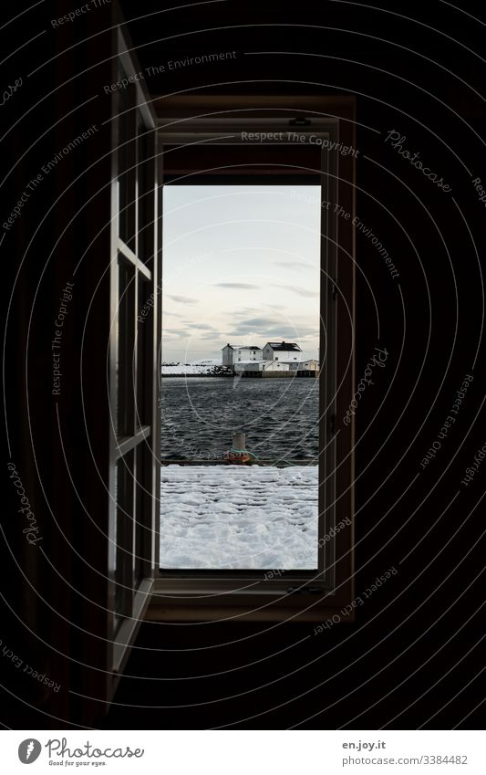 Open window with view of fishing cottage by the fjord and snowy jetty Vacation & Travel Trip Winter Snow Winter vacation Environment Landscape Sky Clouds Ice
