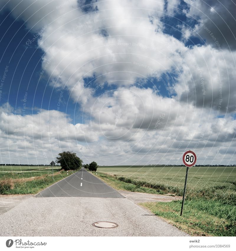Watch out for speed cameras Street lowland Direct Right ahead Sky Clouds Horizon Landscape Deserted Exterior shot Far-off places Environment Copy Space bottom