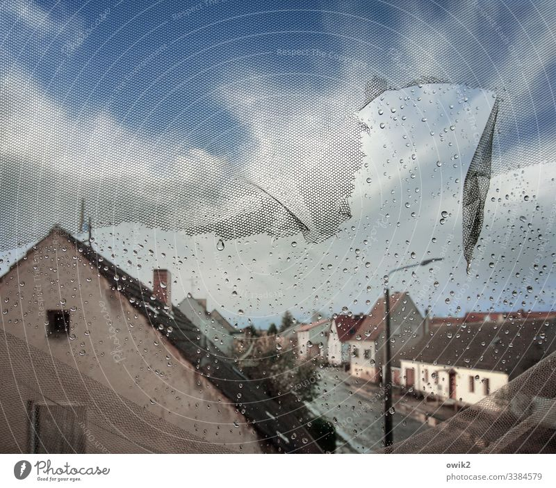Rainy Kingdom Window outlook Vantage point Overview houses Street Village road Fläming Dord Place Village idyll Deserted Copy Space top Panorama (View) Sunlight