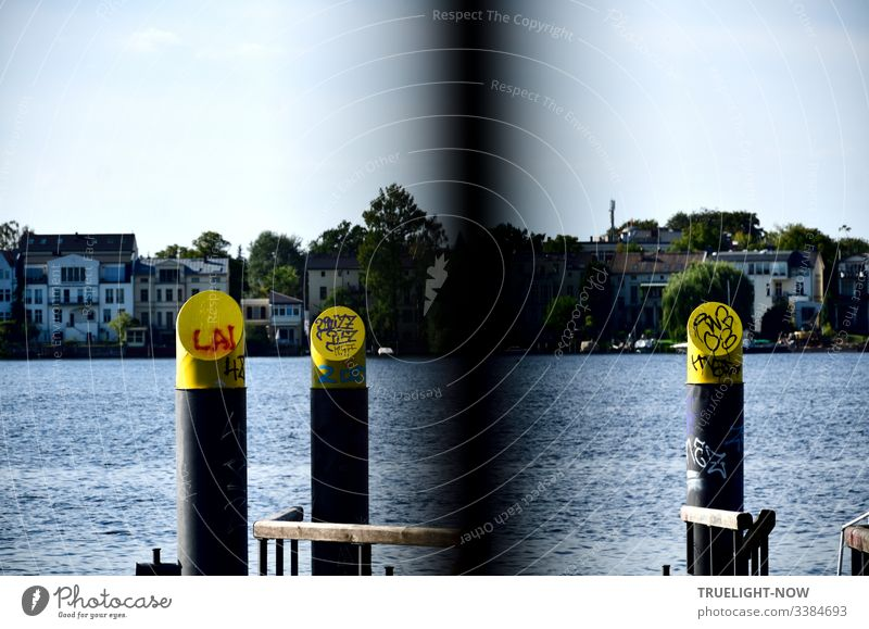 Landing stage for water taxi at Tiefen See (Havel) in Babelsberg with wooden railings, round steel pillars, yellow and grey, graffiti decorated with a view of the Potsdam shore, marina and trees
