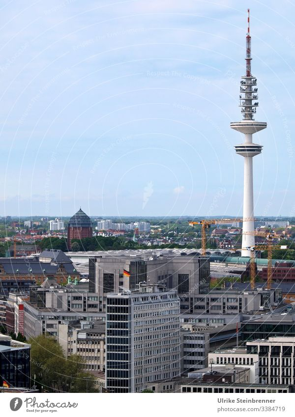 Heinrich Hertz Tower in Hamburg built Television tower Architecture Manmade structures Tourist Attraction Downtown Town Skyline City Port City vantage point