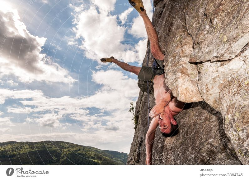 rest Sports Climbing Free climber Sky peril Clouds free torso Wall of rock Brave Man Trust Safety Joy Steep Muscular Rock Mountaineering Leisure and hobbies