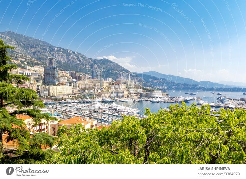 Panoramic view of Fontvieille and harbor with boats, luxury yachts in principality of Monaco, southern France monaco carlo monte palace f1 grand skyline formula