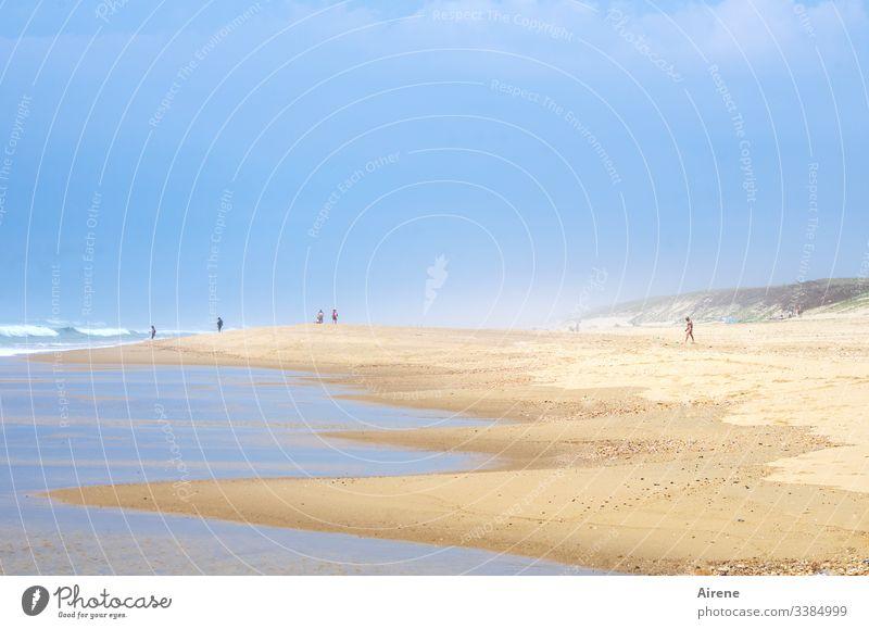exemplary behaviour on the beach | corona thoughts Summer vacation Beach Ocean Water Beautiful weather Coast Sand Day Sunlight Human being Long shot Light