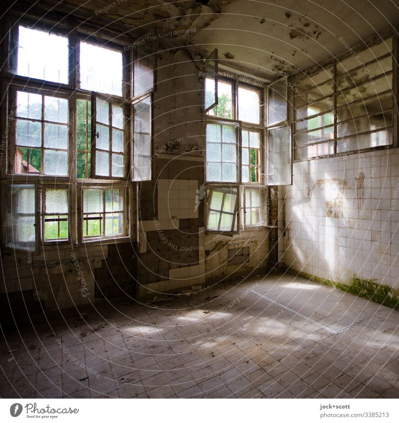 On such days, silence and forgetting seems to me to be a real option Colour photo Interior shot Deserted Day Window Sanitarium Ruin