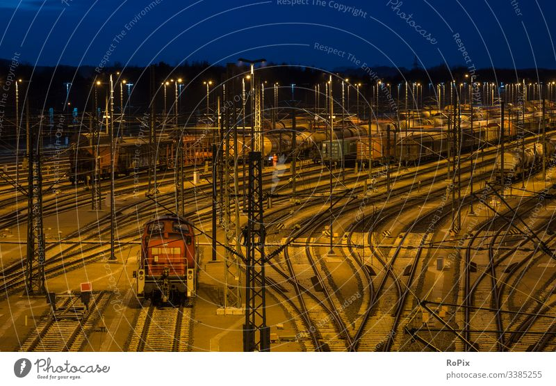 Railway switchyard at night. cooling fan compressor wheel old concrete blower supercharger production industry iron steel steelworks lost place metal water