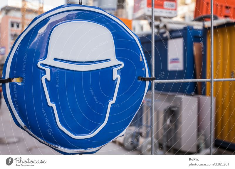Personal protective equipment is required. Safety Permission commanded safety Mandatory sign Construction site Warn Grating Wall (barrier) Excavator
