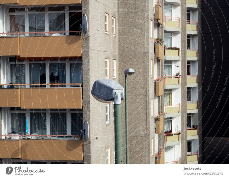 More beautiful living and the street lamps Central perspective Deep depth of field Sunlight Day Sense of time Tower block Environment Gloomy Modern Authentic