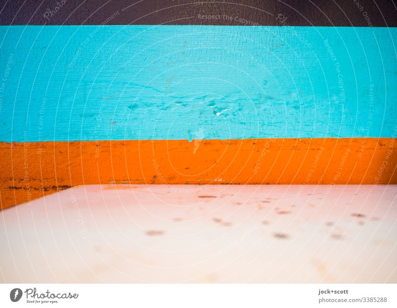 Bäh! | Dirty table in front of coloured wall Taple Tapletop Wall Wall of color Detail Strips Structures and shapes Abstract Pattern Multicoloured