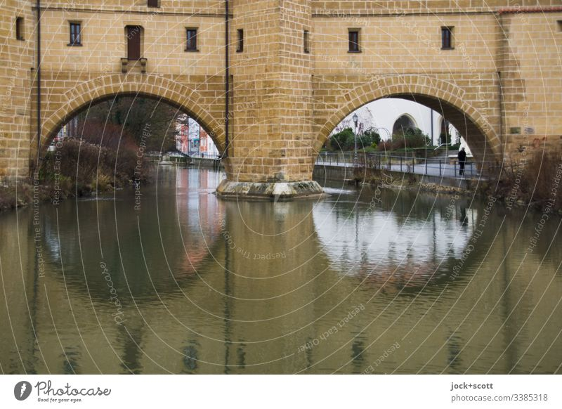 historical arches span over cold water Bridge Historic Franconia Architecture Old town Tourist Attraction Winter Reflection Landmark River Sightseeing Past