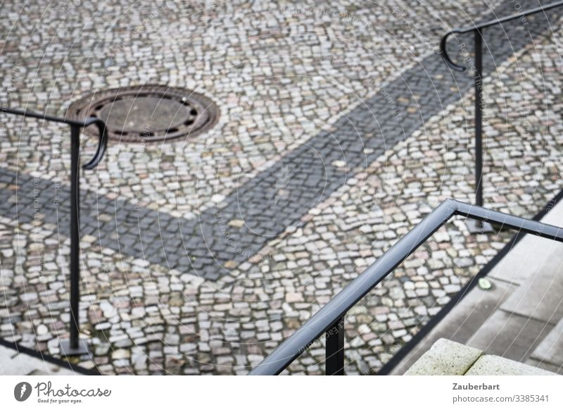 railings, stairs and pavement arranged in square shapes Pavement Paving stone Stairs Handrail Places Town Cobblestones Exterior shot Deserted Stone