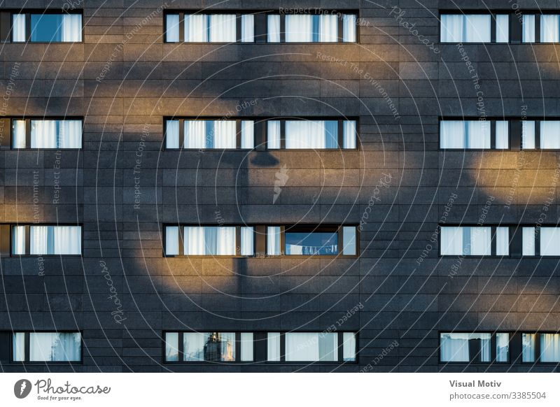 Afternoon light over the black facade of an urban building windows rows structure Architecture abstract building facade urban facade color exterior repetition