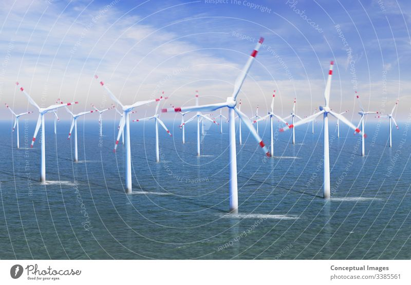Elevated view of a Wind farm at sea alternative alternative energy efficiency electric electricity environment environmental environmental conservation
