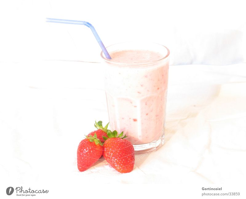 """A strawberry shake, please."" Food Fruit Strawberry Strawberry shake Milkshake Nutrition Beverage Glass Fresh Delicious Sweet Red White Mixed drink Refreshment"